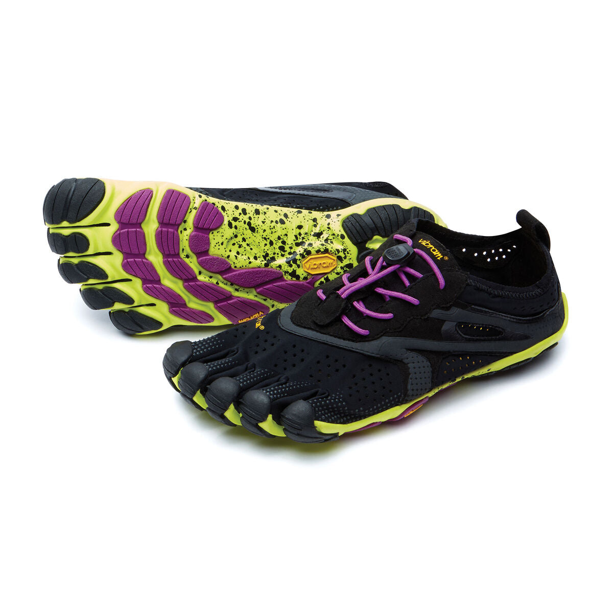 Women's Vibram Five Fingers V-Run Running Shoe in Black/Yellow/Purple from the front