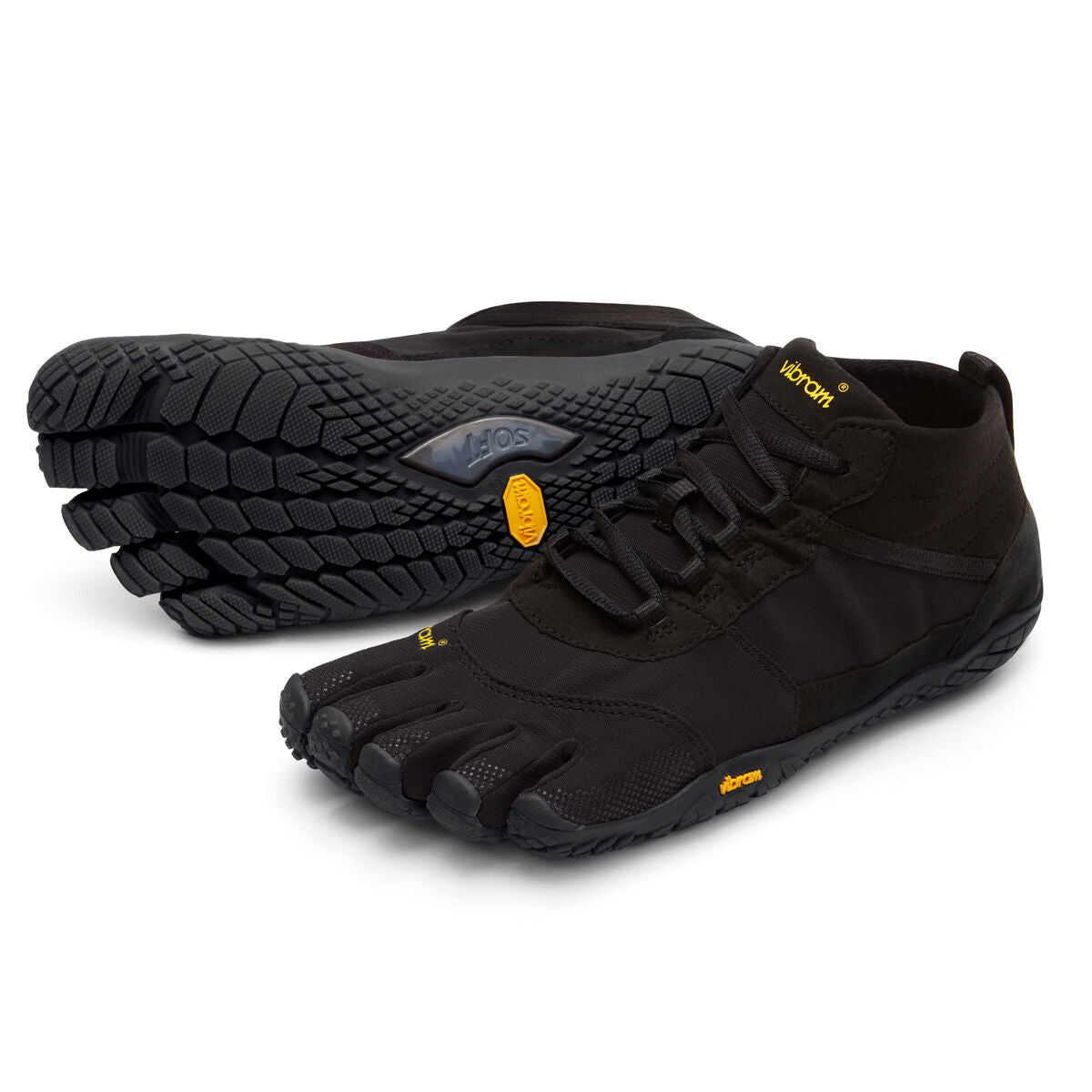 Women's Vibram Five Fingers V-Trek Hiking Shoe in Black/Black from the front
