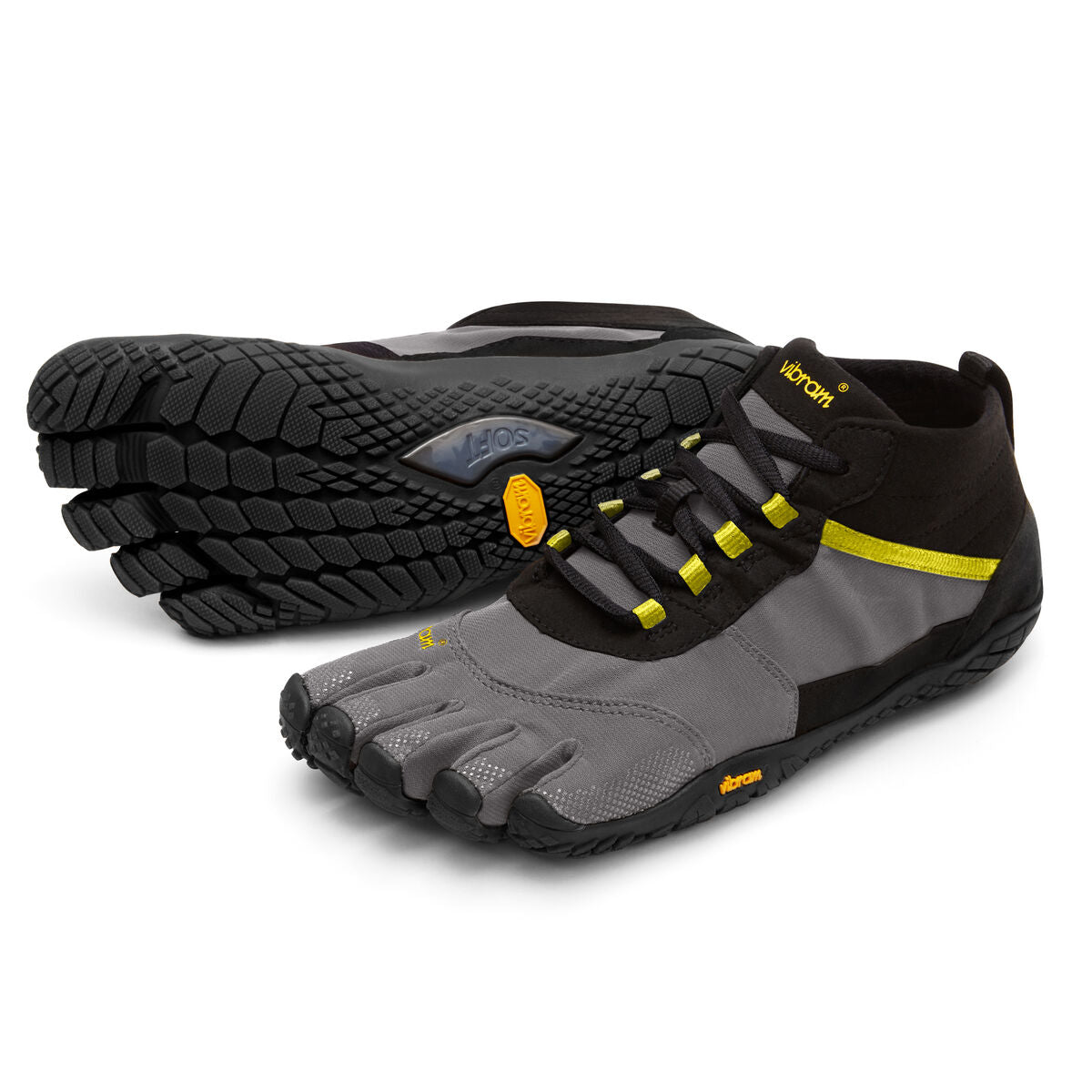 Women's Vibram Five Fingers V-Trek Hiking Shoe in Black/Grey/Citronelle from the front
