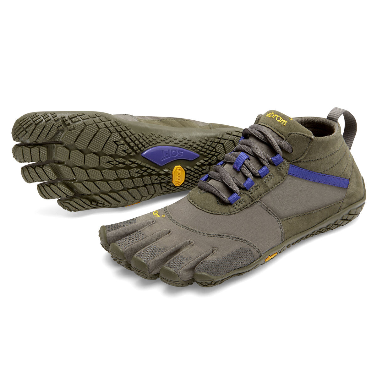 Women's Vibram Five Fingers V-Trek Hiking Shoe in Military/Purple from the front
