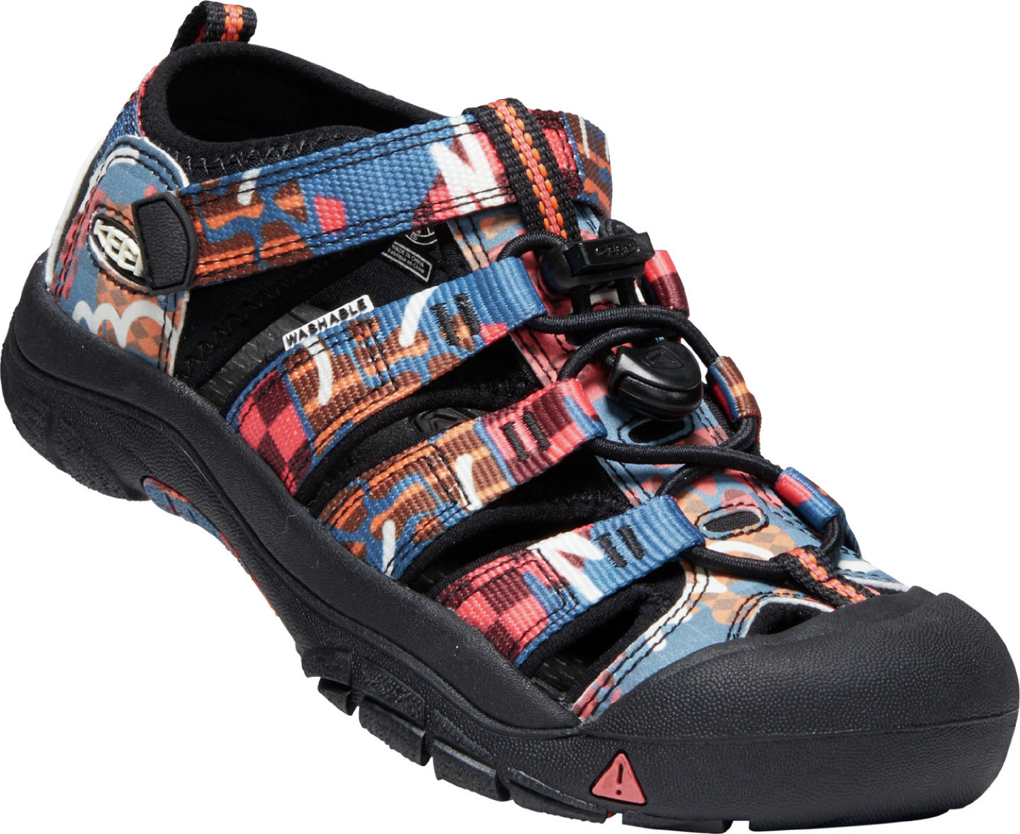 Youth KEEN Newport H2 Sandal in Black/Multi from the side