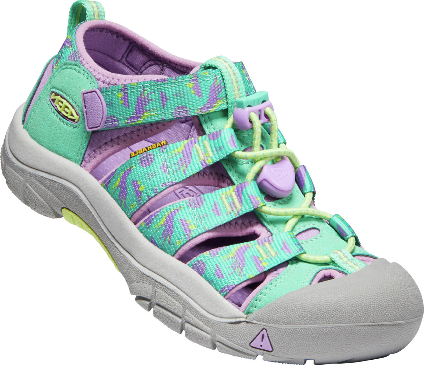 Youth KEEN Newport H2 Sandal in Katydid/African Violet from the side