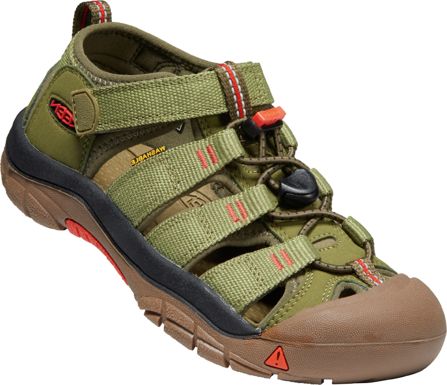 Youth KEEN Newport H2 Sandal in Olive Drab/Orange from the side