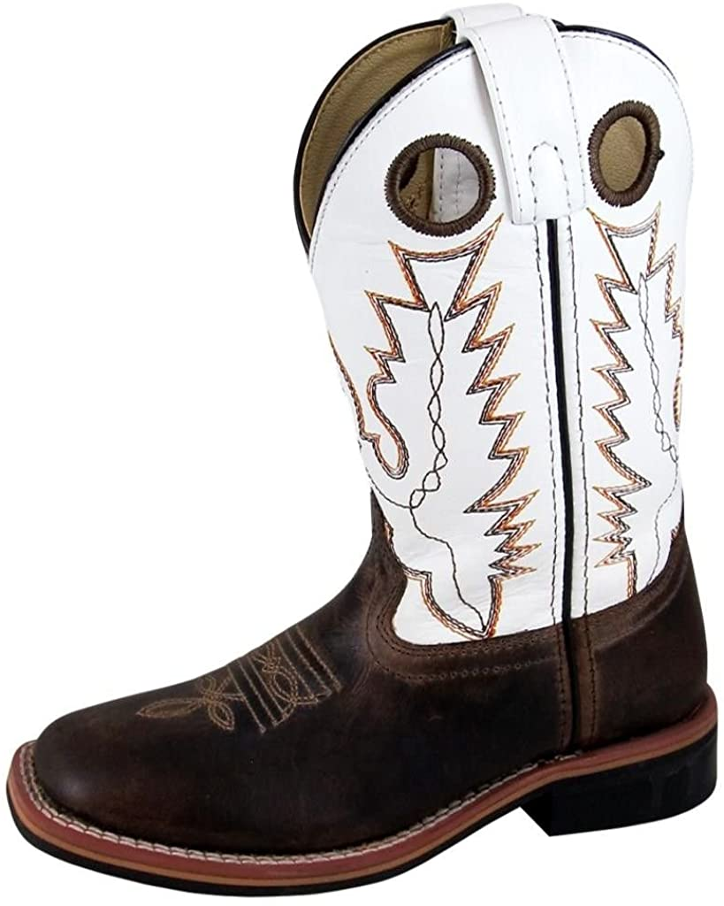 Youth Smoky Mountain Jesse Leather Western Cowboy Boot in Brown Waxed/White