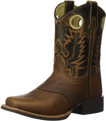 Youth Smoky Mountain Luke Square Toe Western Boot in Brown