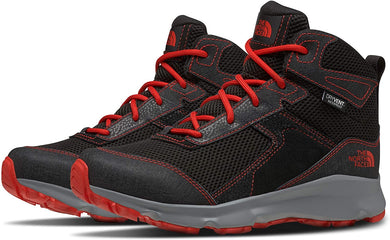 Youth The North Face Jr. Hedgehog Hiker II Mid Waterproof Hiking Boot in TNF Black/Fiery Red