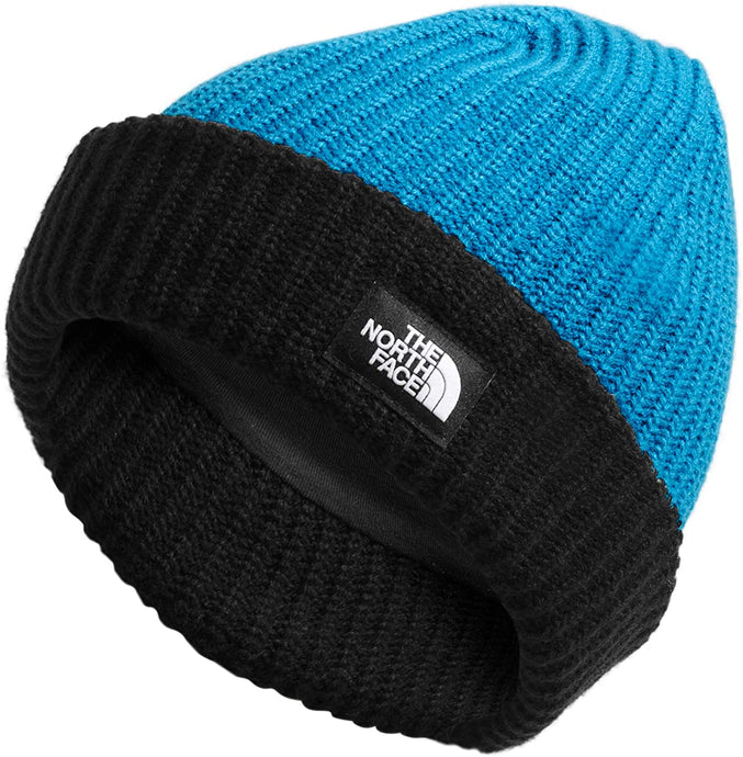 Youth The North Face Salty Dog Beanie in Clear Lake Blue/TNF Black from the front