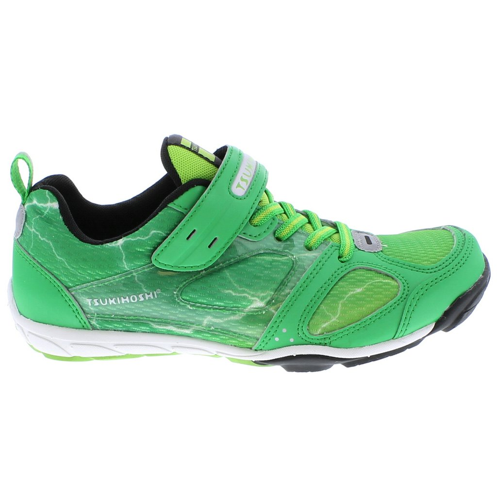 Youth Tsukihoshi Mako Sneaker in Green/Lime from the side view