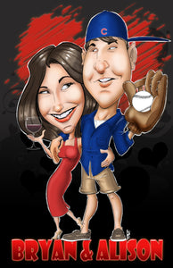 Custom Caricature Couple (Full Body) Custom Caricature Gemini2face Art E-Store