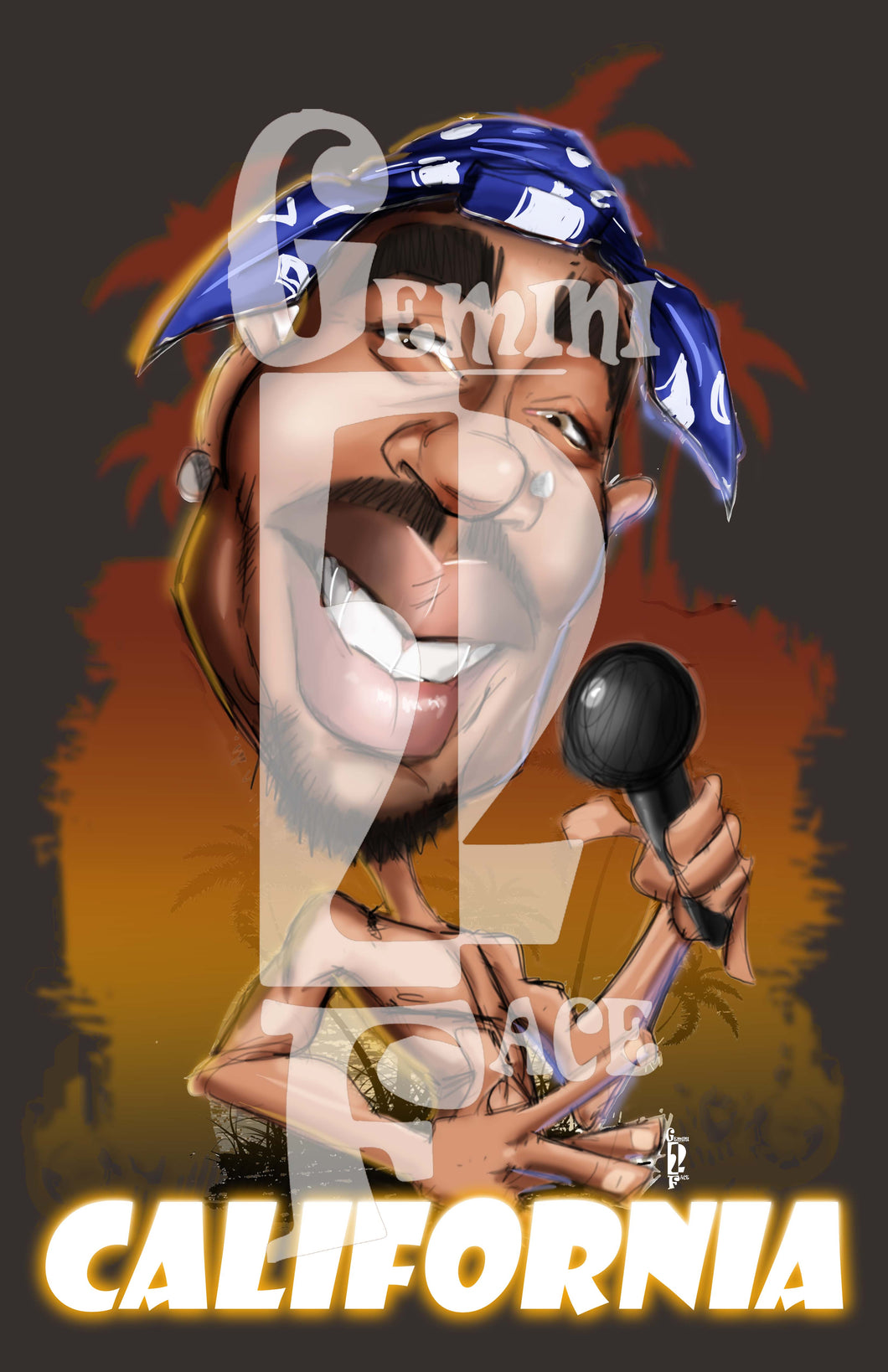 Tupac PNG (version 1) PNG File Gemini2face Art E-Store