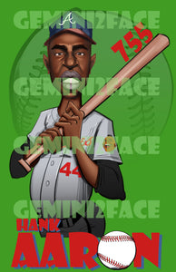 Hank Aaron w/background (exclusive) PNG PNG File Gemini2face Art E-Store