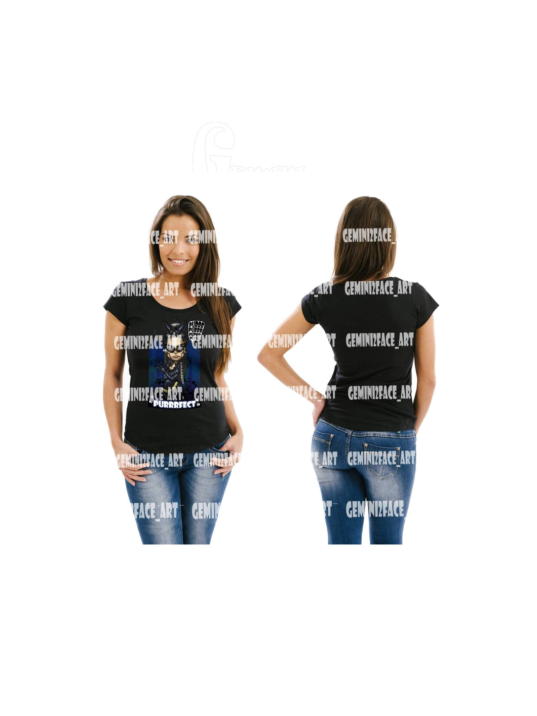 Catwoman Short Sleeve (DTG) Shirt Gemini2face Art E-Store