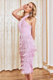 Halter neck fringe dress in pastel purple