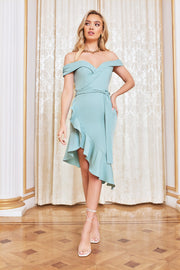Asymmetric bardot wrap ruffle dress in sage green