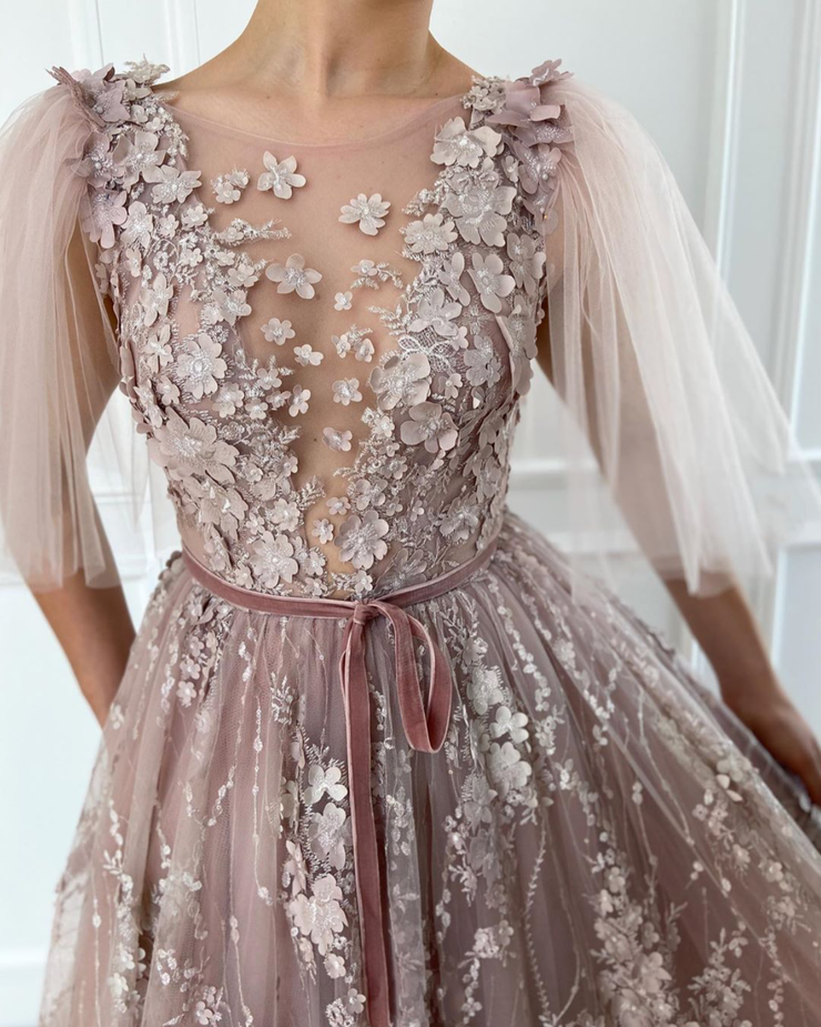 Flower Petals Embroidery Gown