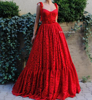 Teuta Matoshi Duriqui Loving Red Blooms Gown