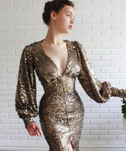 Teuta Matoshi Duriq Midnight Sequins Dress