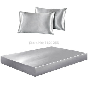 Super Soft Satin Silk Bedding Set With Mattress Cover - Ritzier