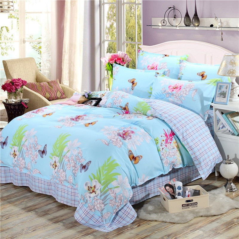 Floral and Butterfly Printed Bedding Set With Duvet Cover - Ritzier