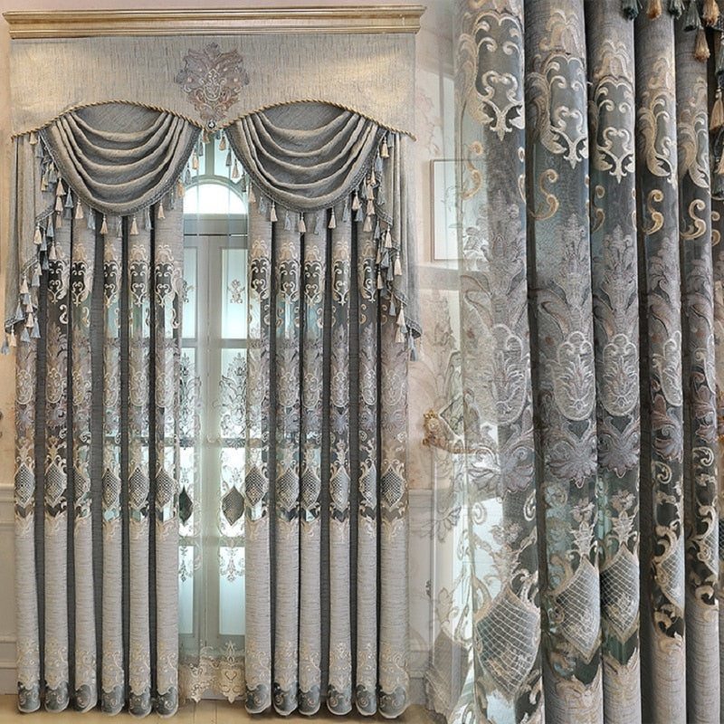 Luxury Chenille Embroidery Valance Curtain