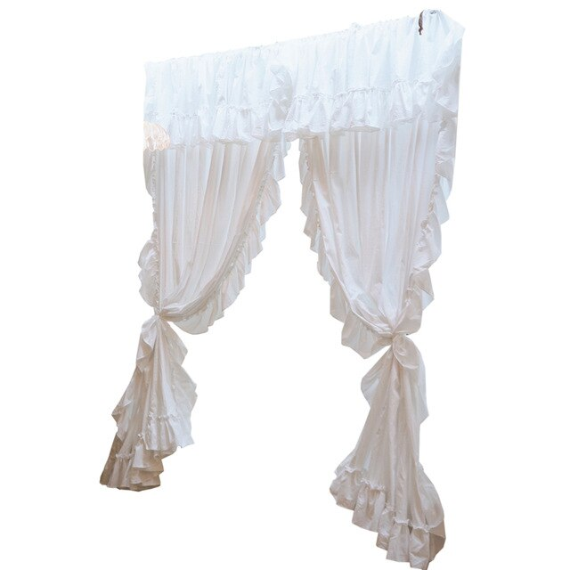 French Style White Cotton Curtains with Valance Ruffles