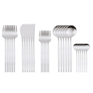 Simple 30Pcs Matte Silverware