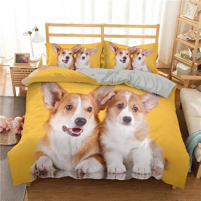WOSTAR comforter bedding sets 3d digital printing Cute dog duvet cover 220x240 King Size bedding set luxury home textiles