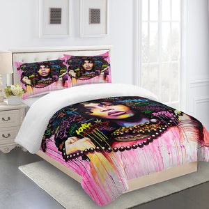 Bedroom Comforter Sets Full Size Designer Bedding Luxury Double Anime Western Style Pink Flowers Women Duvet Cover 3d Printed