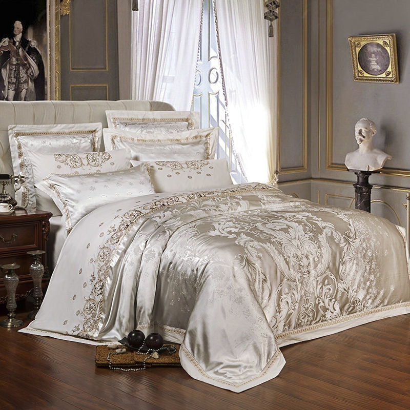 Sliver Gold Luxury Silk Satin Jacquard Bedding Set With Duvet Cover - Ritzier
