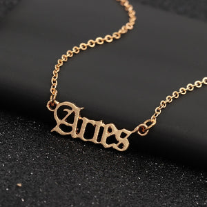 Twelve Constellation Old English Zodiac Necklaces
