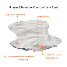Load image into Gallery viewer, Reusable Bamboo Heavy Flow Menstrual Pads - 5 Pack + Bag!