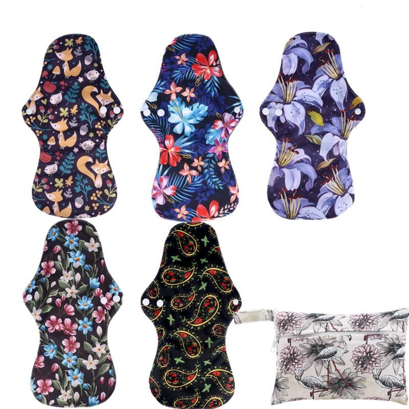 Reusable Bamboo Heavy Flow Menstrual Pads - 5 Pack + Bag!