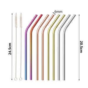 10pc Stainless Steel Straw Set