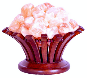 Himalayan Salt Lamp in Rosewood Basket