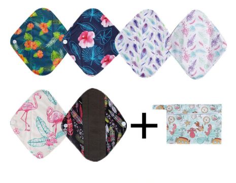 Reusable Bamboo Menstrual Pads - 6 Pack + Bag