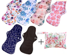 Load image into Gallery viewer, Reusable Bamboo Menstrual Pads - 6 Pack + Bag