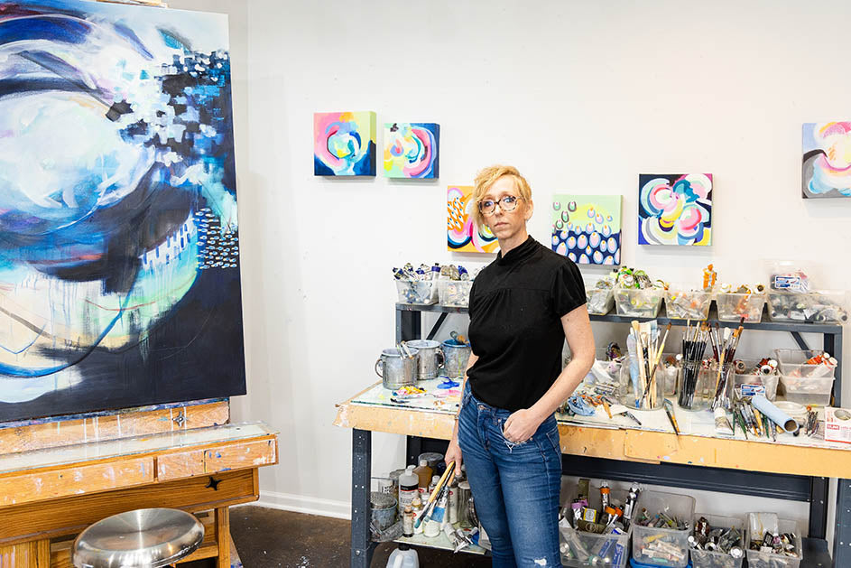 Suze Ford Artist in the studio