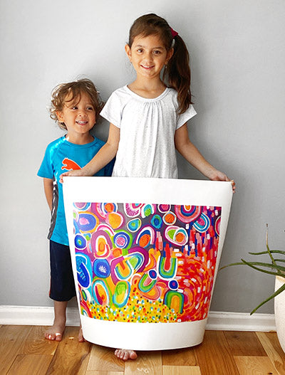 Kiddos holding Print printed on canvas