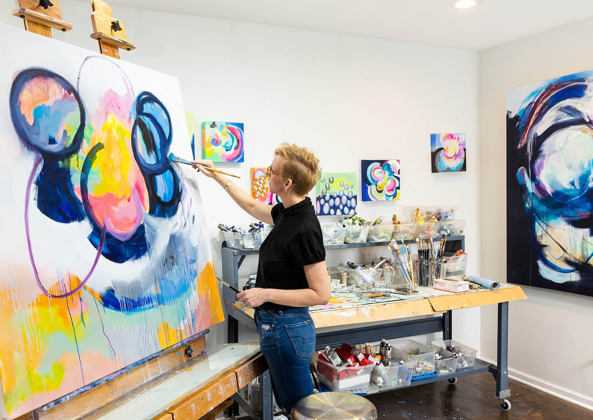 Suze Painting in the studio