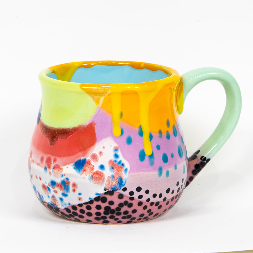 #113 22 oz Hand Painted Ceramic Mug