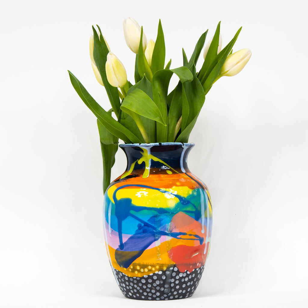 #9  Hand Painted Ceramic Vase