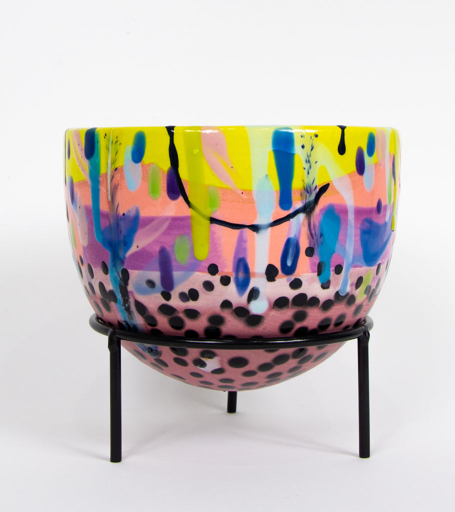 #23  Hand painted round ceramic planter with stand