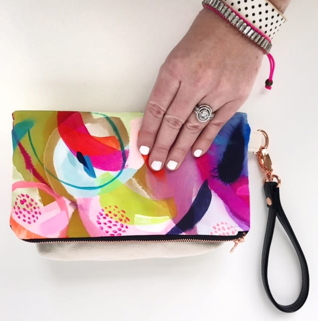 Fiji, fold over silk clutch