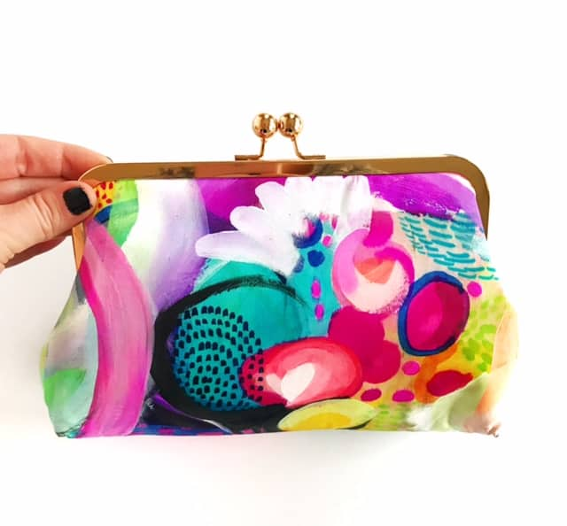 Paris, silk clutch