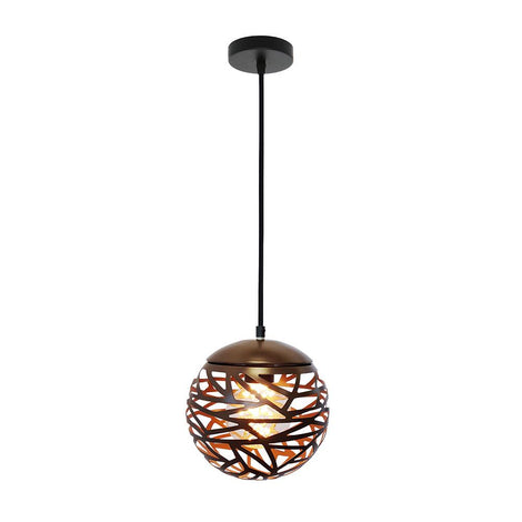 SLP LUMINARIO DECORATIVO PARA SUSPENDER ESFERA METALICA COLOR CAFE E26 DIAMETRO 200 MCA PHILCO