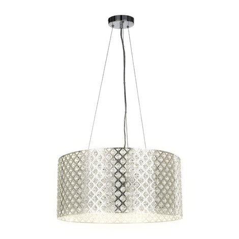 LUMINARIO SUSPENDIDO DECORATIVO INT. 25.5W/100-240V. E27 CRISTAL ACERO SATINADO MINCHIR