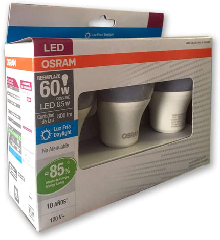 KIT LED CLASSIC A60 8.5W 6500K (3 PZAS)  85879