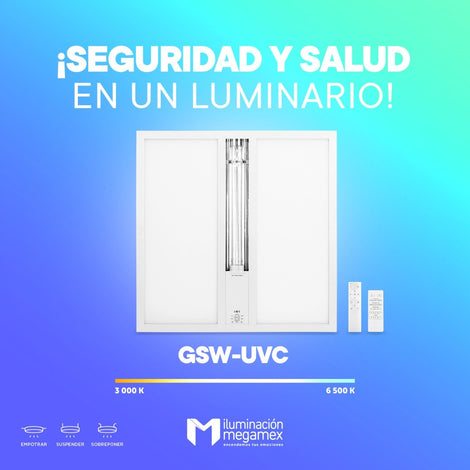 GABINETE DOBLE FUNCION CON UVC DE 36 W Y PANEL LED DE 36W 60X60 BLANCO MULTIVOLTAJE MEGAMEX