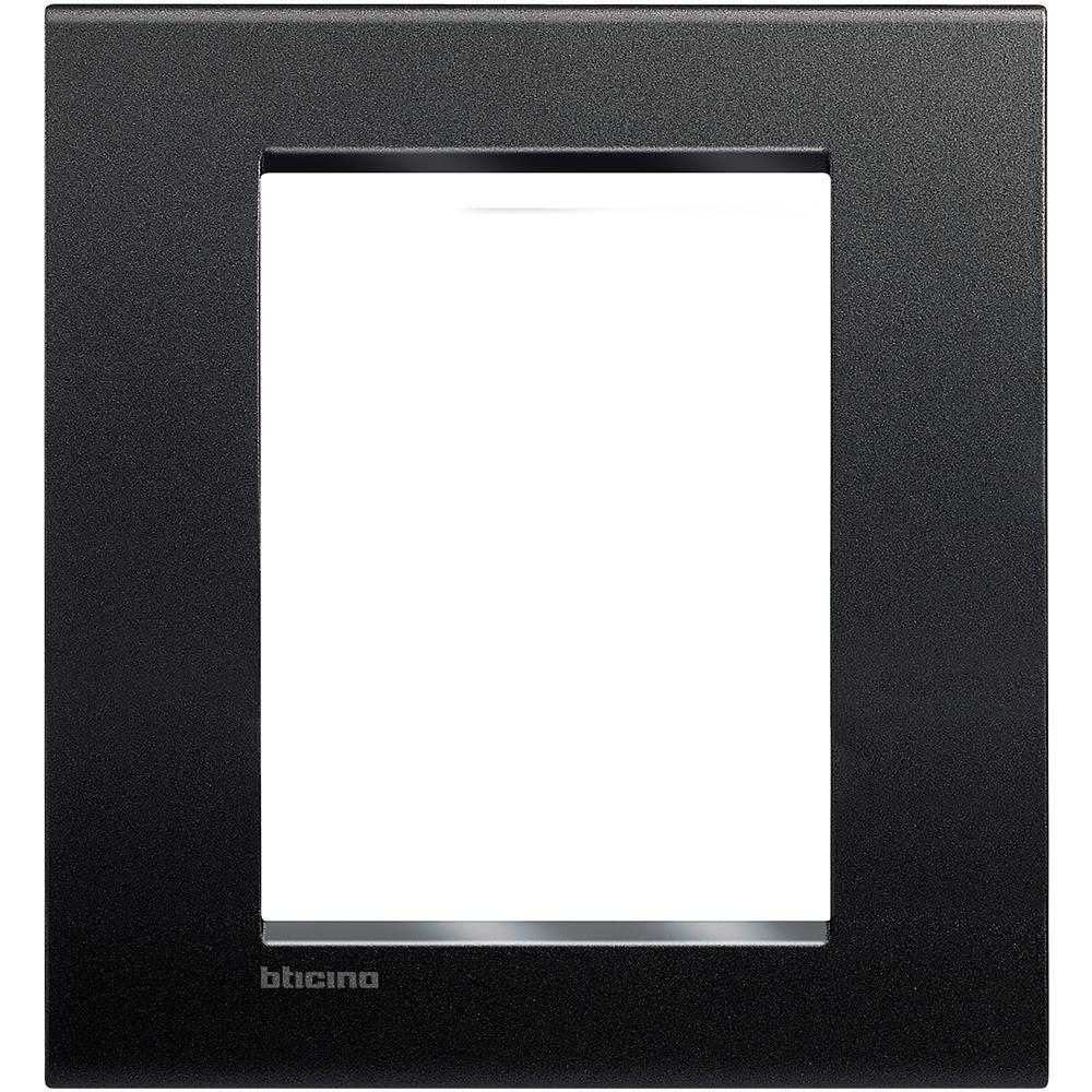 PLACA RECTANGULAR COLOR NEGRO ANTRACITA 3+3 MOD. LNA4826AR LIVING Y LIGHT