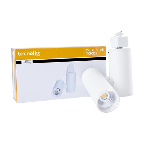 LUMINARIO SPOT RIEL P/ INTERIOR LED 15W 100-240V 3000K COLOR BLANCO MCA. TECNOLITE